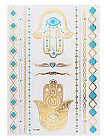 1PC Flash Metallic Waterproof Tattoo Gold Silver Evil Eye Hand Blue Temporary Tattoo Sticker YH-008
