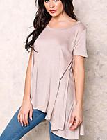 De las mujeres Chic de Calle Casual/Diario Verano / Otoño Camiseta,Escote Redondo Un Color Manga Corta Algodón Rosa Opaco