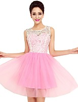 Cocktail Party Dress A-line Jewel Short / Mini Tulle with Buttons / Lace  / Homecoming Dress