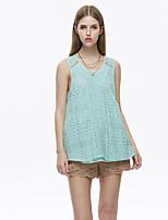 Herz Soul® Damen Rundhalsausschnitt Ärmellos T-Shirt Blau-11923