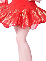Latin Dance Bottoms Women's Performance Polyester Draped 1 Piece  Latin Dance Sleeveless Natural Skirt