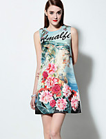 Boutique S  Going out Sophisticated A Line Dress,Embroidered Round Neck Above Knee Sleeveless Blue  Cotton Summer