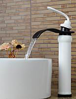 Modern Tall Waterfall Paint Oil-rubbed Bronze Bathroom Sink Faucet - White+Black (Tall)