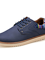 Men's Shoes PU Casual Flats Casual Walking Flat Heel Others / Lace-up Black / Blue / Brown