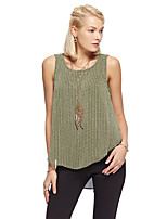 Women's Going out Simple Summer Tank Top,Solid Round Neck Sleeveless Yellow / Purple Polyester Thin