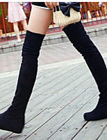 Women's Shoes Fabric Fall / Winter Round Toe Boots Casual Low Heel Others Black / Red