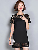 Women's Going out Street chic Plus Size Dress,Patchwork Round Neck Mini Short Sleeve Black Polyester Summer