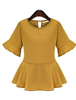 Women's Casual/Daily Simple Summer Blouse,Solid Round Neck ½ Length Sleeve Red / Green / Yellow Acrylic Medium