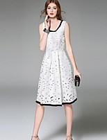 Boutique S  Women's Going out Street chic Sheath Dress,Patchwork Round Neck Knee-length Sleeveless  Polyester Summer