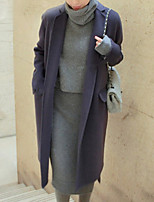 Women's Casual/Daily Street chic Coat,Solid Shirt Collar Long Sleeve Winter Purple Wool Thick