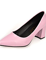 Damen-High Heels-Lässig-Leder-Blockabsatz-Absätze-Blau / Rosa / Grau / Mandelfarben