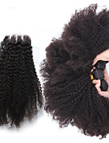 Brazilian Kinky Curly Virgin Hair With Closure 4Pcs/lot Human Hair Wefts/Bundles With 4x4 Lace Closure