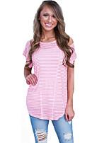 De las mujeres Simple Noche Verano Camiseta,Escote Redondo A Rayas Manga Corta Algodón Rosa Medio
