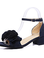 Women's Shoes Leatherette Summer Heels Sandals Office & Career / Party & Evening / Casual Chunky Heel Applique Black