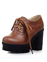 Women's Spring / Fall / Winter Heels / Round Toe / Comfort PU Outdoor / Office & Career / Dress Chunky Heel Lace-up Black / Brown / Yellow
