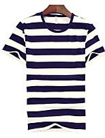 Gestreept-Informeel / Werk / Sport-Heren-Katoen-T-shirt-Korte mouw Zwart / Blauw / Rood
