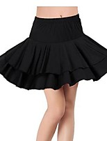 Latin Dance Bottoms Women's Performance Milk Fiber Draped 1 Piece Black Latin Dance Sleeveless Dropped Skirt