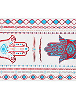 1pc Flash Metallic Waterproof Tattoo Red Gold Silver Evil Eye Finger Hand Temporary Tattoo RYH-008