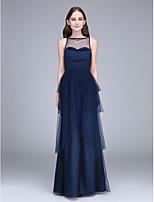 Lanting Bride® Yere Kadar Tül Nedime Elbisesi Sütun Kayık ile