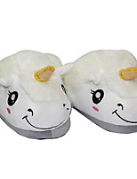 Kigurumi Pyjamas Unicorn Chaussures / Chaussons Halloween Pyjamas animale Blanc Couleur Pleine Toison de Coral Chaussons UnisexeHalloween