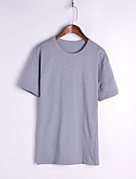 Women's Casual/Daily Sexy Summer T-shirt,Solid Round Neck ½ Length Sleeve White / Black / Gray Cotton / Linen Thin