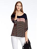 Heart Soul® Women's Round Neck 3/4 Length Sleeve T Shirt Blue / Pink / Red-11AA24689