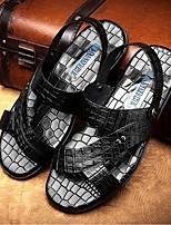 Zapatos de Hombre-Sandalias-Exterior / Deporte-Cuero-Negro / Bermellón