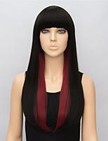 moda dritto lunghe parrucche sintetiche per le donne parrucca cosplay multi-colore rosso nero