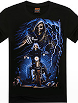 Men's Casual Printing Skeleton Soul Chariot Design Round Neck 3D T-shirt