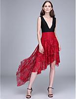 Lanting Bride® Asymmetrical Lace Bridesmaid Dress A-line V-neck with