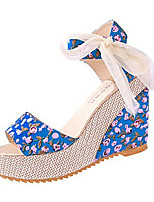 Women's Shoes Fabric Summer Wedges Heels Casual Wedge Heel Others Black / Blue / Beige