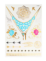 1PC Flash Metallic Waterproof Tattoo Gold Silver Elephant Flower Temporary Tattoo Sticker YH-006