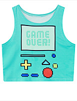 Inspired by Pocket Monster Ash Ketchum Anime Cosplay Costumes Cosplay Tops/Bottoms Print Blue Sleeveless Vest