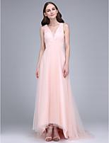 Lanting Bride® Süpürge / Fırça Kuyruk Tül Nedime Elbisesi Sütun V-Yaka ile Haç