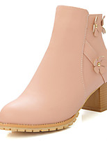 Women's Shoes Chunky Heel Round Toe Ankle Boot with Applique and Zip More Color Available