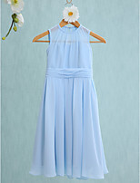 Lanting Bride Knee-length Chiffon Junior Bridesmaid Dress Sheath / Column Jewel with Ruching