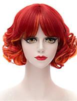 cos anime perruque mélanger la modélisation orange poire rouge cheveux perm