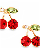 Personality Hollow Out Cherry Red Ruby Stud Earrings