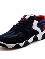 Men's Shoes Suede Athletic Flats Athletic Sneaker Flat Heel Lace-up Blue / Red / Gray