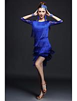 Latin Dance Outfits Women's Performance Milk Fiber Lace / Tassel(s) 4 Pieces Black / Blue / Fuchsia / Red Latin Dance