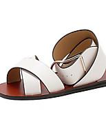Women's Shoes PU Summer Open Toe / Flats Sandals Outdoor / Office & Career Flat Heel Others Black / White