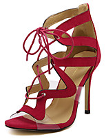 Women's Shoes Suede Summer Peep Toe Sandals Party & Evening / Dress Stiletto Heel Lace-up Black / Red / Almond