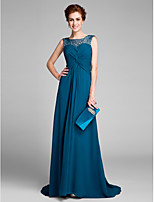 Lanting Bride Sheath / Column Mother of the Bride Dress Sweep / Brush Train Sleeveless Chiffon with Criss Cross