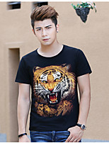 Men's Animal Printing Tiger Hhead Design Round Neck 3D T-shirt