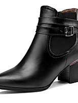 Mujer-Tacón Robusto-Puntiagudos / Botas a la ModaVestido / Casual-Semicuero-Negro / Beige / Bermellón