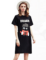 Women's Cute / Street chic Patchwork Fashion  Large Size  Plus Size / Loose Dress,Round Neck Above Knee