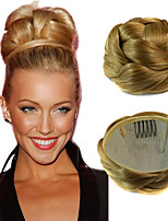 Wedding Bridal Updo Chignon Bun Clips Synthetic Straight Hair Extensions Blonde