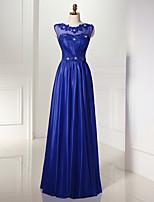 Serata formale Vestito Linea-A Stondata Lungo Tulle / Jersey con Perline / Dettagli con perline / Drappeggio di lato