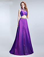 Formal Evening Dress A-line High Neck Sweep / Brush Train Taffeta with Beading / Crystal Detailing