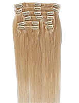 #60 light Blonde Color Clips in Straight Brazilian Human Hair Machine Made Wefts Full Head Hair Extensions